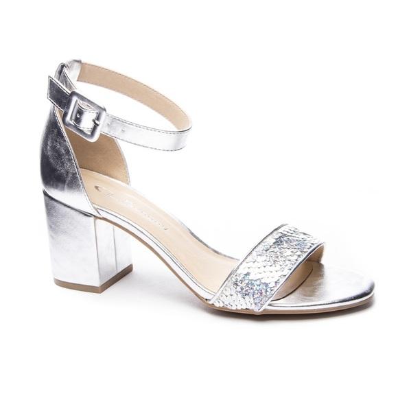 e4f8073e5a3 NIB Chinese Laundry Jody Silver Block Heel Sandal NWT